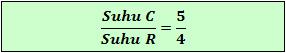 Perbandingan skala suhu Celsius terhadap Reaumur
