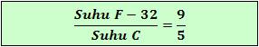 Perbandingan skala suhu Fahrenheit terhadap Celsius