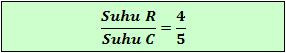 Perbandingan skala suhu Reamur terhadap Celsius