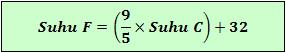 Rumus konversi satuan suhu Celsius ke Fahrenheit