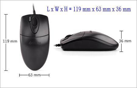 Ukuran panjang lebar dan tinggi mouse