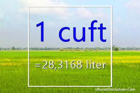 1 cuft berapa liter